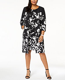 Kasper Plus Size Printed Topper Jacket & Dress