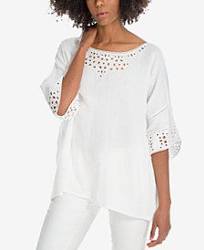 Max Studio London Cotton Eyelet-Trim Top, Created for Macy's