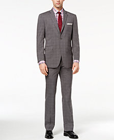 Perry Ellis Men's Slim-Fit Stretch Medium Gray Plaid Suit