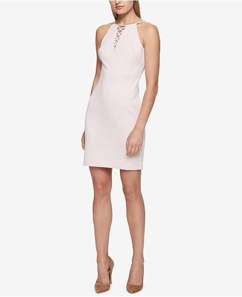 GUESS Lace-Up Halter Sheath Dress - Dresses - Women - Macy s 0e154c343