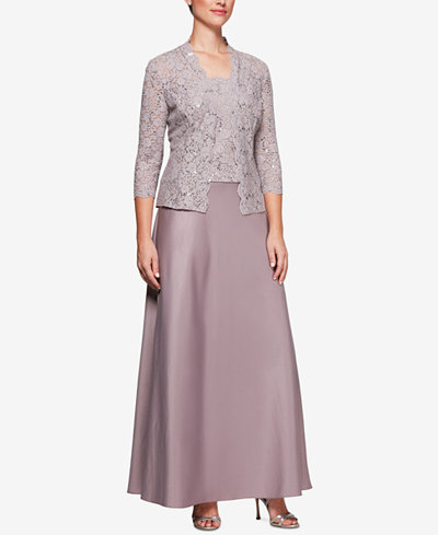Alex Evenings Sequined Lace Satin Dress & Jacket
