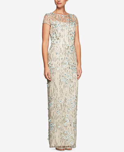 Alex Evenings Sequined Embroidered Tulle Gown
