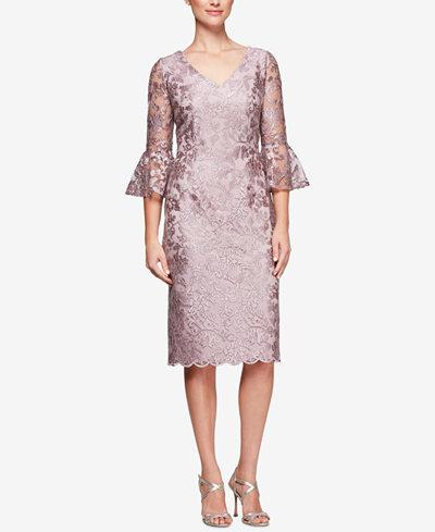 Alex Evenings Embroidered Bell-Sleeve Dress