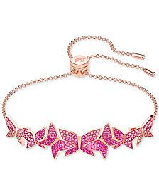 Swarovski Lilia Rose Gold-Tone Plated Mixed-Metal Bangle Slider Bracelet