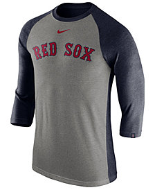 Nike Men's Boston Red Sox Tri-Blend Three-Quarter Raglan T-shirt