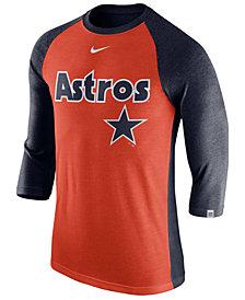 Nike Men's Houston Astros Tri-Blend Three-Quarter Raglan T-shirt