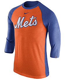 Nike Men's New York Mets Tri-Blend Three-Quarter Raglan T-shirt