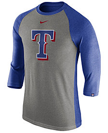 Nike Men's Texas Rangers Tri-Blend Three-Quarter Raglan T-shirt