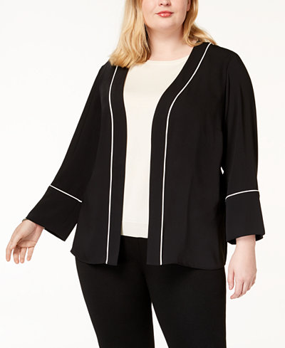 Alfani Plus Size Pleated-Back Blazer, Created for Macy's