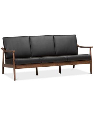 Ambelin Faux Leather Sofa, Quick Ship