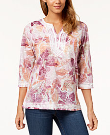 Alfred Dunner Petite Los Cabos Floral-Lace Tunic