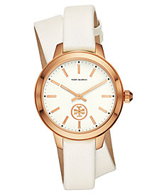 Tory Burch Women's Collins White Leather Wrap Strap Watch 38mm