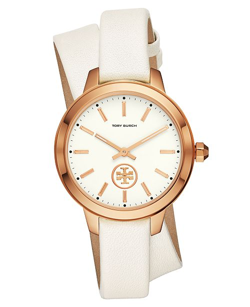 5c4269d01018 Tory Burch Women s Collins White Leather Wrap Strap Watch 38mm ...