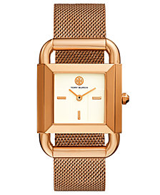Tory Burch Women's Phipps Rose Gold-Tone Stainless Steel Mesh Bracelet Watch 41x29mm