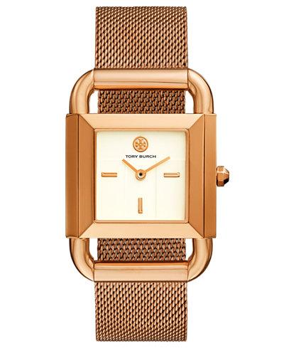 Tory Burch Women's Phipps Rose Gold-Tone Stainless Steel Mesh Bracelet Watch 41x29mm