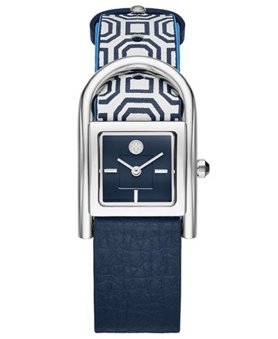 Tory Burch Women's Thayer Navy & White Leather Strap Watch 25x39mm