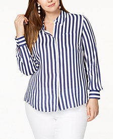 I.N.C. Plus Size Striped Shirt, Created for Macy's