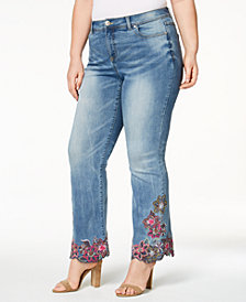 I.N.C. Plus Size Embroidered Bootcut Jeans, Created for Macy's