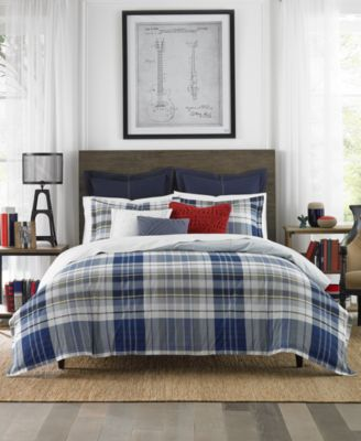 The Poquonock Plaid Bedding Collection From Tommy Hilfiger Features A  Reversible Comforter And A Relaxing Blue And Yellow Plaid Pattern, Making  It The ...