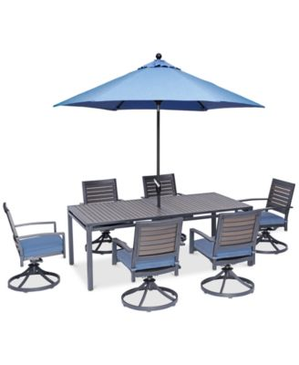 """Harlough II Outdoor 7-Pc. Dining Set (84"""" x 42"""" Dining Table and 6 Swivel Rockers) with Sunbrella® Cushions, Created for Macy's"""