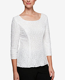 Alex Evenings Petite Sequined Lace Top