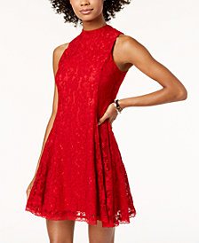 The Edit By Seventeen Juniors' Lace Mock-Neck Fit & Flare Dress, Created for Macy's