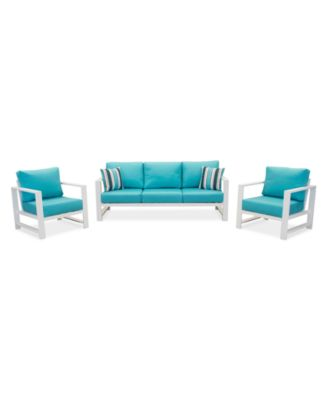 Aruba Blue Aluminum Outdoor 3-Pc. Seating Set (1 Sofa & 2 Club Chairs) with Sunbrella® Cushions, Created for Macy's