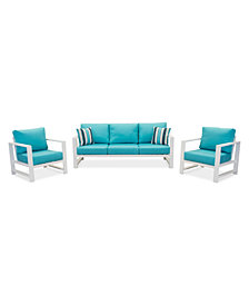CLOSEOUT! Aruba Blue Aluminum Outdoor 3-Pc. Seating Set (1 Sofa & 2 Club Chairs) with Sunbrella® Cushions, Created for Macy's