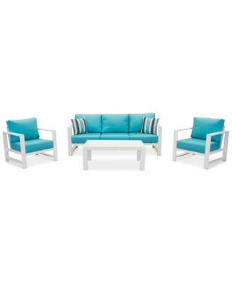 Aruba Blue Aluminum Outdoor 4-Pc. Seating Set (1 Sofa, 2 Club Chairs & 1 Coffee Table) with Sunbrella® Cushions, Created for Macy's