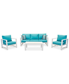 CLOSEOUT! Aruba Blue Aluminum Outdoor 4-Pc. Seating Set (1 Sofa, 2 Club Chairs & 1 Coffee Table) with Sunbrella® Cushions, Created for Macy's