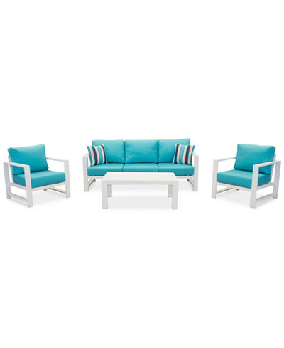 Aruba Blue Aluminum Outdoor 4-Pc. Seating Set (1 Sofa, 2 Club Chairs & 1 Coffee Table) with Sunbrella® Cushions, Created for Macy's