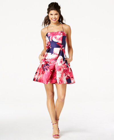 BCX Juniors' Floral-Print Fit & Flare Dress