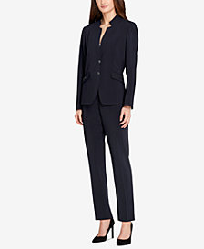 Tahari ASL Star-Collar Tonal-Stripe Pantsuit, Regular & Petite