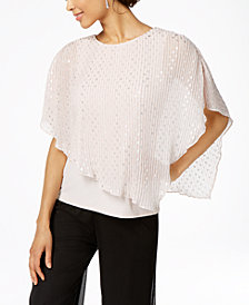 MSK Metallic-Dot Pleated Popover Top
