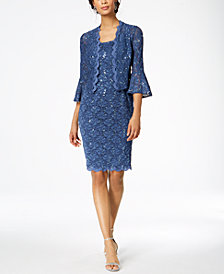 Alex Evenings Sequined Lace Dress & Bell-Sleeve Jacket
