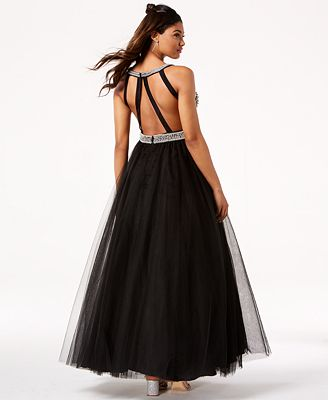 Say Yes To The Prom Embellished Strappy Back Gown Created For