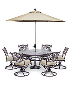 "Chateau Outdoor Aluminum 7-Pc. Set (60"" Round Dining Table & 6 Swivel Rockers) with Sunbrella® Cushions, Created For Macy's"