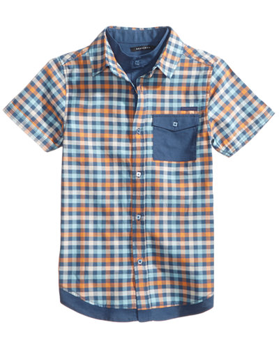 Sean John Intersecting Planes Plaid Cotton Shirt, Big Boys