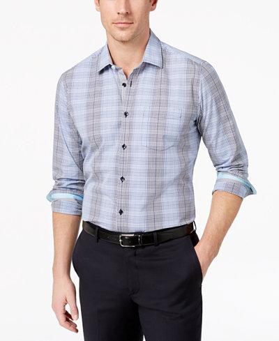 Ryan Seacrest Distinction™ Men's Slim-Fit Blue Grid Sport Shirt, Created for Macy's