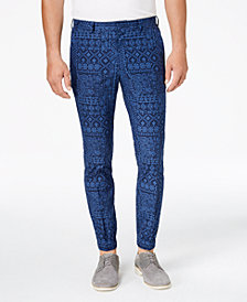Tallia Orange Men's Slim-Fit Navy Bandana-Print Jogger Suit Pants