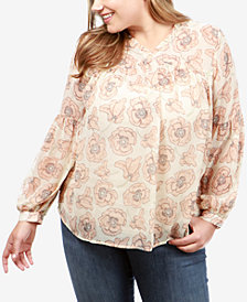 Lucky Brand Trendy Plus Size Floral-Print Top