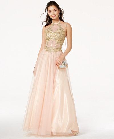 Blondie Nites Juniors' Embroidered Corset Ball Gown