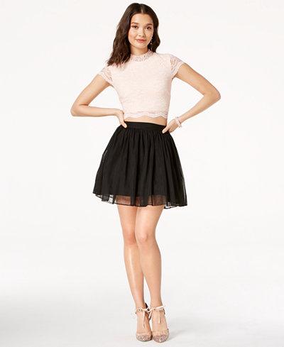 City Studios Juniors' Embellished Lace Chiffon 2-Pc. Fit & Flare Dress