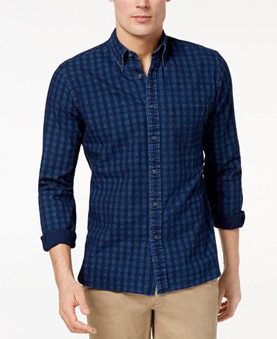 Brooks Brothers Men's Slim-Fit Indigo Gingham-Print Shirt
