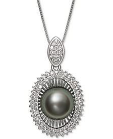 "Black Cultured Tahitian Pearl (10mm) & Cubic Zirconia 18"" Pendant Necklace in Sterling Silver"