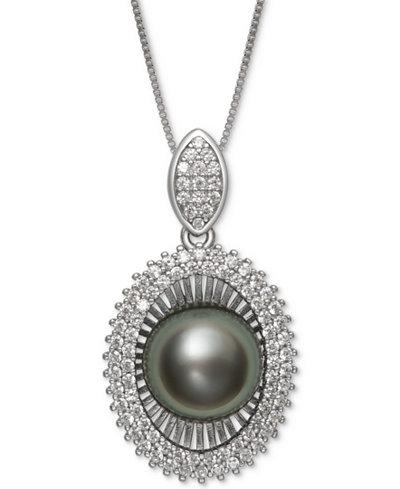Black Cultured Tahitian Pearl (10mm) & Cubic Zirconia 18