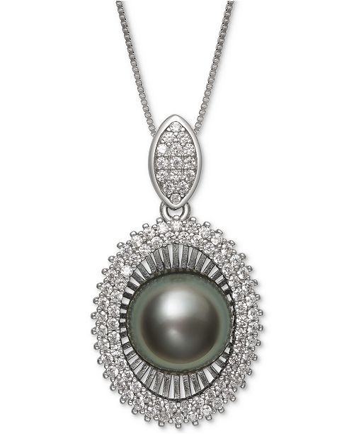 Black Cultured Tahitian Pearl (10mm) & Cubic Zirconia 18