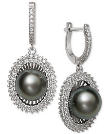 Black Cultured Tahitian Pearl (10mm) & Cubic Zirconia Drop Earrings in Sterling Silver