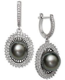 Black Cultured Tahitian Pearl (10mm) & Cubic Zirconia Drop Earrings in Sterling Silver