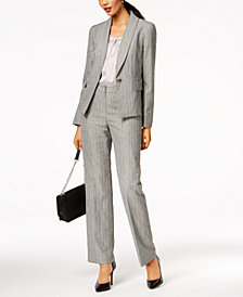 Le Suit Jacquard-Stripe Shawl-Collar Pantsuit, Regular & Petite